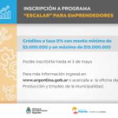 "Inscripción al Programa ""Escalar"" para emprendedores"