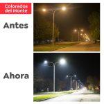 Se terminó de colocar luminarias led en Avenida Colorados del Monte